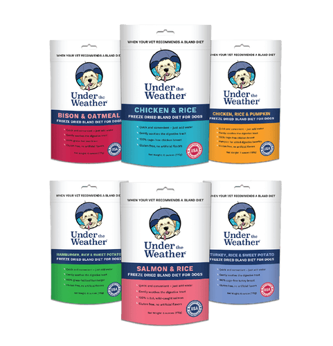 UNDER THE WEATHER ANNOUNCES BREAKTHROUGH BLAND DIET PRODUCTS FOR DOGS